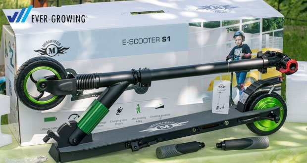 Electric Scooter-S1 von MEGAWHEELS - einfach und schnell zusammenklappbar in nur wenigen Sekunden mit ultra-bequemem 1-Sekunden-Klappmechanismus