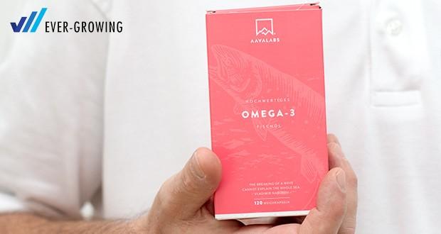 Omega 3 Fischöl von Aava Labs kommt mit 800mg EPA und 400mg DHA in jeder Tagesdosis