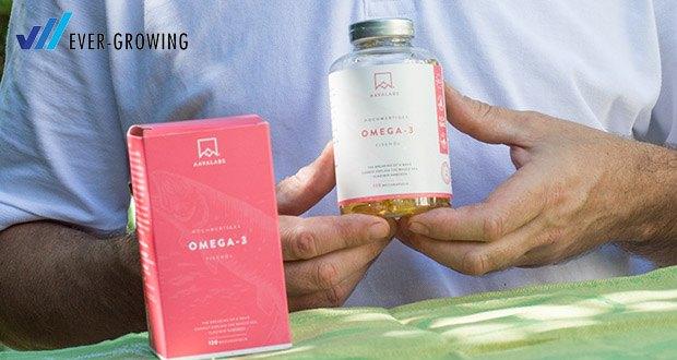 Omega 3 Fischöl von Aava Labs - Inhaltsstoffe: Fischöl, Weichkapseln (Gelatine), Feucwhthaltemittel (Glycerin), gereinigtes Wasser und DL-Alpha Tocopherol acetate