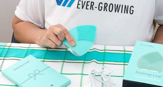 SUNMAY Leaf Facial Cleanser Gesichtsreinigungsbürste im Test - die Form eines Blattes macht das handliche Design einfacher zu halten und bequem zu tragen
