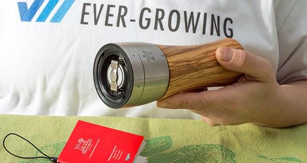 Peugeot Pfeffermühle Madras aus Olivenholz im Test - die Pfeffermühle Madras ist mit dem leistungsstarken Mahlwerk aus Stahl ausgerüstet