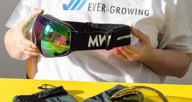MessyWeekend Float Skibrille im Test - passen mit oder ohne Helm. Sie sind so konzipiert, dass Brillen unter der Skibrille getragen werden können