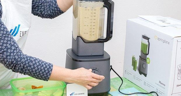 Springlane Hochleistungsmixer Hanno im Test - mit Hilfe des beleuchteten Touch-Bedienfelds kannst du zwischen 4 verschiedenen Funktionen wählen: Pulse, Smoothie, Crushed Ice oder Mahlen