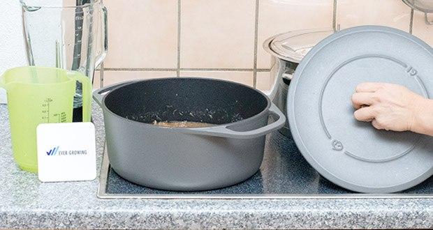 Springlane Gusseisen Bräter Cocotte im Test - bei einem Fassungsvermögen von 6 l ist dieser hochwertige Bräter ideal geeignet für die Zubereitung von saftigen Fleisch- und Fischgerichten, herzhaften Gemüse-Eintöpfen und sogar knusprigem Brot