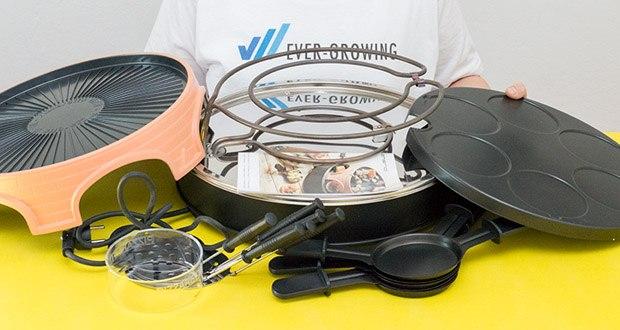 Emerio Pizzaofen PIZZARETTE 3 in 1 Pizza-Raclette-Grill im Test - Lieferumfang: Basisgestell, Haube mit Grillfläche, 6 Raclette-Pfännchen, 6 Pizzaheber, 1 Ausstechform (11cm), Bedienungsanleitung
