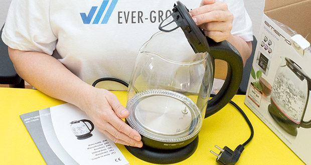 Emerio Glas Wasserkocher im Test - ein Trockengehschutz mit automatischer Abschaltung versteht sich von selber