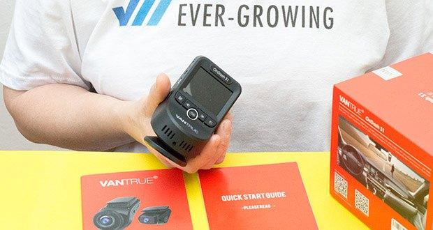 VANTRUE S1 Dual Dashcam im Test - filmt mit 1080P (bei 30fps), mit 2MP bei Bildern. 170° Vorde- und 160° Rückkamera haben dual 1920x1080P, maximal 2880x2160P bei 24fps vorne
