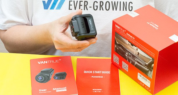 VANTRUE S1 Dual Dashcam im Test - die Rückkamera liefert die Beweisfindung in der Fahrt. Schalten Sie einfach den Blickwinkel oder Auflösung durch Drücken Blicwinkelwechsel-Taste um