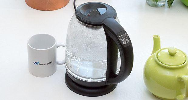 Emerio Glas Wasserkocher im Test - durch die Temperaturwahl (wählbar: 60°C - 70°C - 80°C - 90°C - 100°C) ideal für z.B. Kaffee, Tee, Babynahrung, Suppe, Instantgerichte usw., inkl. feinporigem Kalkfilter