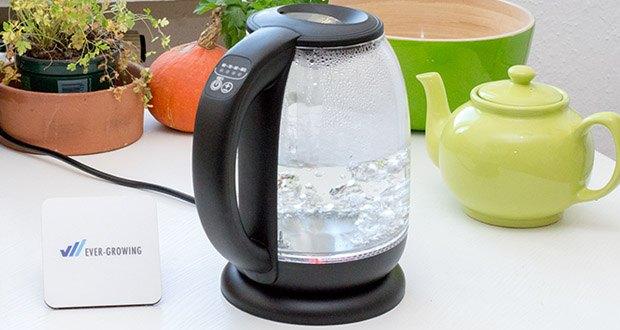 Emerio Glas Wasserkocher im Test - die verschiedenen Temperaturen werden durch verschiedene LED-Hintergrundbeleuchtungen auch farblich optisch unterschieden