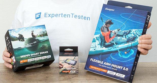 Deeper CHIRP+ Smart Sonar GPS-Fischfinder Set im Test - Deeper CHIRP+ Smart Sonar, Deeper Flexible Arm 2.0 und Smartphone Halterung