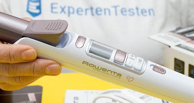 Rowenta CF3460 Lockenstab Premium Care Precious Curl im Test - manuelle Temperatureinstelungen von 130°C bis 200° C Maximaltemperatur