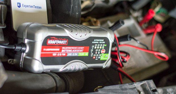 Dino KRAFTPAKET 10A-12V/24V Batterieladegerät im Test - Dieses Ladegerät können Sie bei allen 12V und 24V Batterien bis zu einer Kapazität von 200Ah im Lademodus, oder bis 240Ah im Erhaltungslademodus nutzen