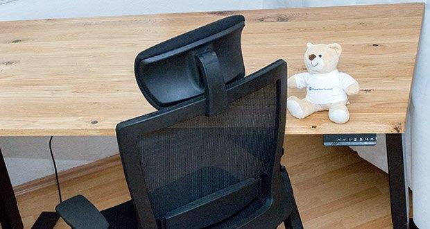 Ergotopia elektrisch höhenverstellbarer Schreibtisch im Test - selbst wenn der Ergotopia Steh-Sitz Tisch 60, 70 oder sogar 80 kg bewegt, sind die Qualitätsmotoren angenehm leise