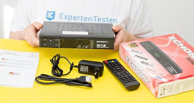 Echosat 20700 S Digitaler HD Satelliten Receiver im Test - Lieferumgfang: 1x Echosat 20700 S Digitaler Satelliten Receiver, 1x Fernbedienung, 1x Hdmi Kabel, 1x Anleitung