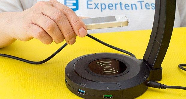 EasyAcc Kopfhörerhalter Headset Halterung im Test - mit dem eingebauten kabellosen Ladestation sind Ihre Handy einfach aufzuladen, Legen Sie Ihre Handys einfach darauf ab!