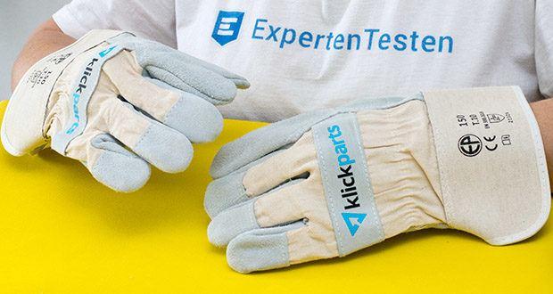 Klickparts Schutzhandschuhe Basic im Test - Handfläche, Daumen, Zeigefinger, Fingerspitzen mit Rindvollleder verstärkt