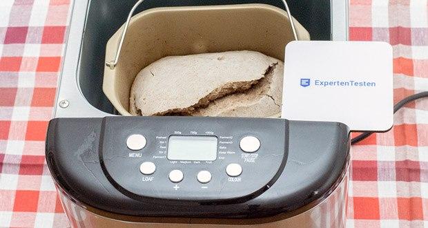 Brotbackautomat von Aicok im Test - über das LED-Display können Sie nach Ihrem Geschmack je nach Rezept 3 Brotsgrößen (500g, 750g, 1000g) und 3 Krustenfarben (hell, mittel, dunkel) wählen