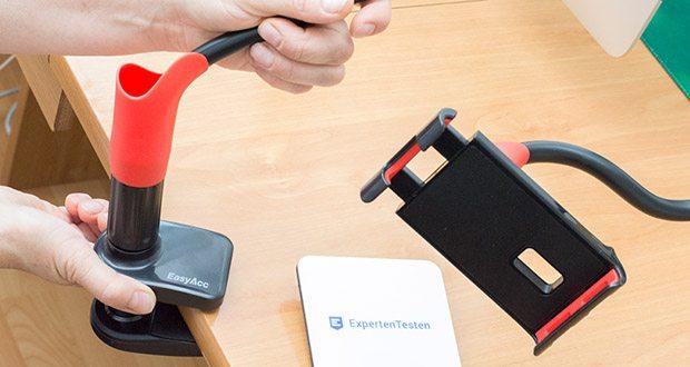 EasyAcc Tablet Halterung Handyhalter im Test - die Klammer kann an Untergründen bis zu einer Stärke von 70 mm befestigt werden
