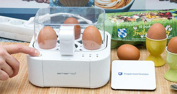 Emerio Eierkocher im Test - Weich gekochte Eier: Das erste Lämpchen geht an und die Sprachausgabe gibt den erreichten Härtegrad an