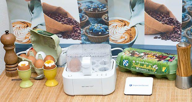 Emerio Eierkocher im Test - Hart gekochte Eier: Alle drei Lämpchen leuchten und die Sprachausgabe gibt den erreichten Härtegrad an