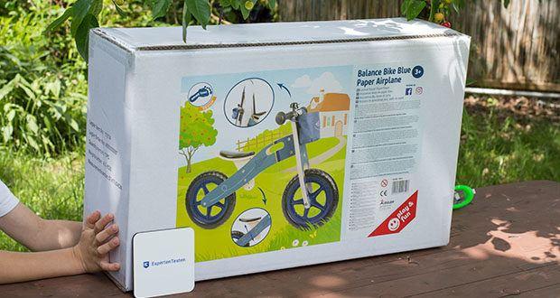 small-foot Laufrad blauer Papierflieger im Test - begeistert dieses Laufrad aus Holz kleine Biker
