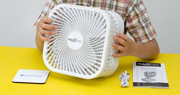 MAXXMEE Akku-Ventilator klappbar im Test - Strom: 3,7 V (Li-Ion Akku, 3600mAh)