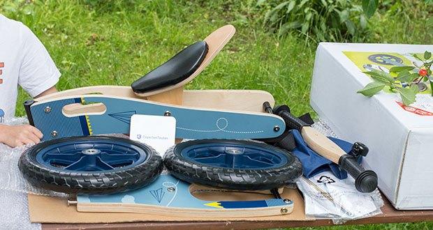 small-foot Laufrad blauer Papierflieger im Test - Maße: ca. 81 x 39 x 58 cm, Sitzhöhe ca. 37 - 42 cm