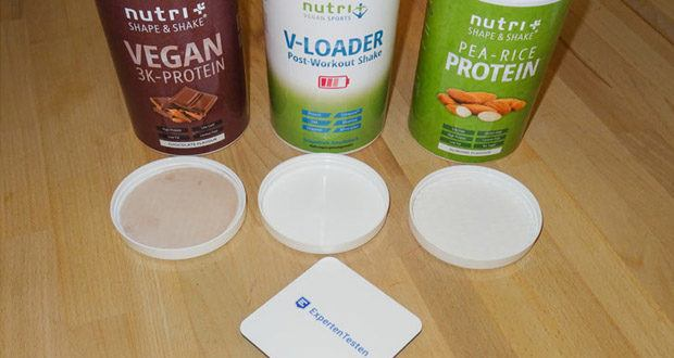 Nutri-Plus POST WORKOUT Shake V LOADER, PROTEIN PULVER Erbse-Reis - Mandel und PROTEINPULVER VEGAN Schokolade im Test - ohne künstliche Farbstoffe und Konservierungsmittel