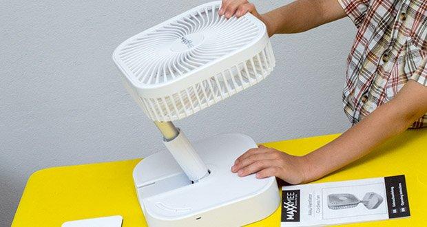 MAXXMEE Akku-Ventilator klappbar im Test - optimal anpassbar für jeden Ort & jede Sitaution