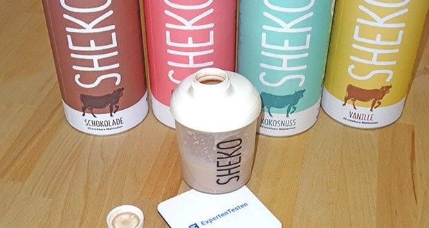 SHEKO Eiweißpulver im Test - hat nur 202 Kalorien. Eine Dose enthält 450 g, ergibt also 25 Mal gute Laune