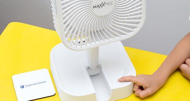 MAXXMEE Akku-Ventilator klappbar im Test - 3 Geschwindigkeitsstufen