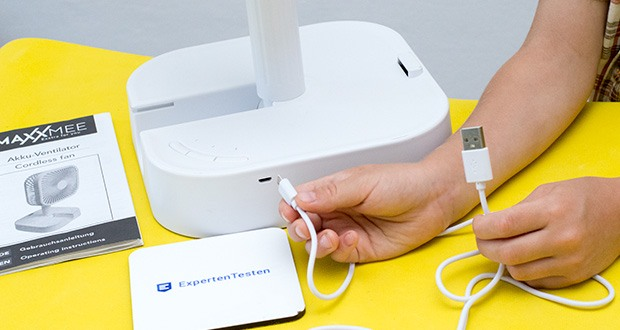 MAXXMEE Akku-Ventilator klappbar im Test - starker Akku mit bis zu 7 Stunden Laufzeit - ausreichend für einen kompletten Arbeitstag oder die ganze Nacht