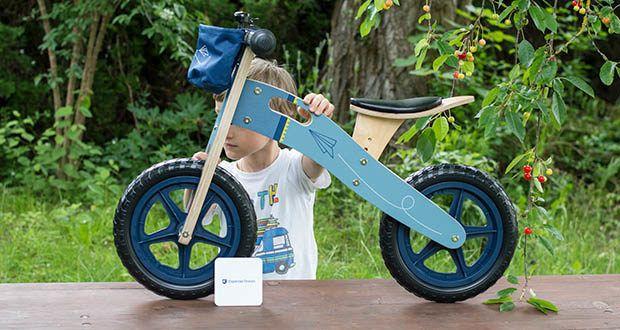 small-foot Laufrad blauer Papierflieger im Test - mit gradlinigem Design