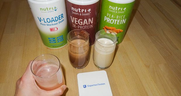 Nutri-Plus POST WORKOUT Shake V LOADER, PROTEIN PULVER Erbse-Reis - Mandel und PROTEINPULVER VEGAN Schokolade im Test - für einen normalen Energiestoffwechsel