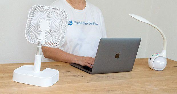MAXXMEE Akku-Ventilator klappbar im Test - faltbarer und akkubetriebener Ventilator zur Verwendung als Tisch- oder Standgerät