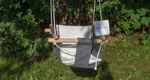 small-foot Babyschaukel Komfort im Test - Kissenbezug und Schaukelstoff bestehen aus 100% Baumwolle
