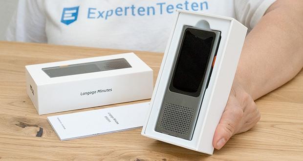 Langogo Minutes Sprachübersetzer und Diktiergerät im Test - Produktgröße: 115 x 45,3 x 12,6 mm; Produktgewicht: 80 g; Bildschirm: 2,45 Zoll Touchscreen
