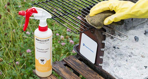 ECO clean by LcM® Backofen- und Grillreiniger 500ml im Test - nach der Einwirkzeit benetzte Fläche mit Wasser abspülen