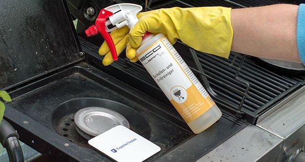 ECO clean by LcM® Backofen- und Grillreiniger 500ml im Test - während der der Einwirkzeit, reinigt sich die verunreinigte Stelle wie von selbst; sollte man bereits noch verkrusteten Schmutz sehen, wird diese Stelle einfach erneut benetzt