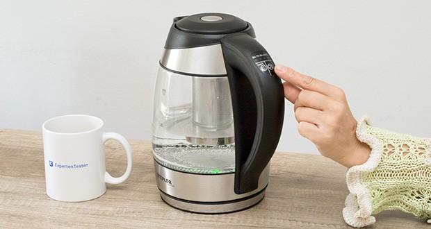 STEPLER LED-Glas-Wasserkocher 1,8 Liter im Test - die Integrierte LED-Beleuchtung illuminiert das Wasser in verschiedenen Farben je nach Temperaturwahl