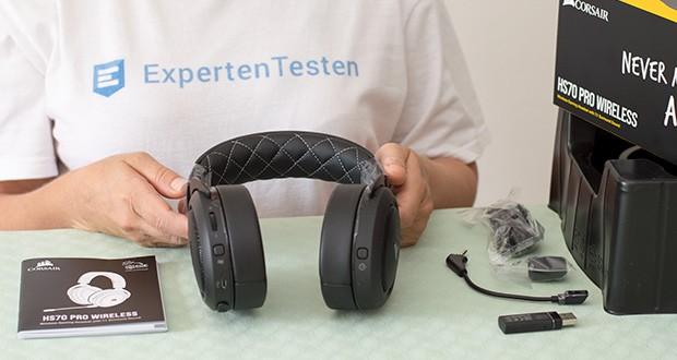 Corsair HS70 Pro Wireless Gaming Headset im Test - drahtlose Reichweite des Kopfhörers Bis zu 40 Fuß. Impedance: 32 Ohms @ 1 kHz