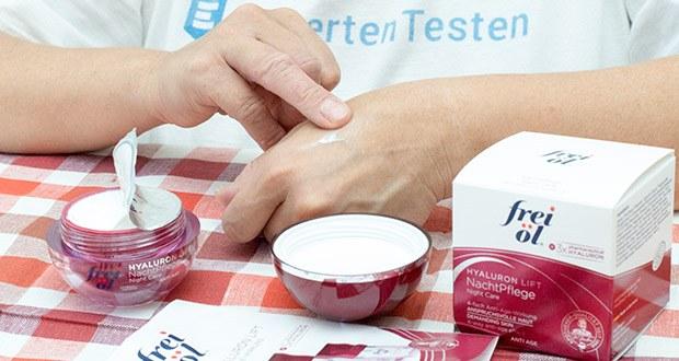 frei öl Anti Age Hyaluron Lift NachtPflege im Test - Anwendung: Abends nach der Reinigung auf Gesicht, Hals und Dekolleté auftragen und sanft einmassieren