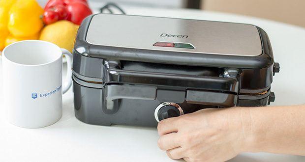 Decen Sandwichmaker im Test - mit der 5-stufigen Temperaturregelung können Sie Lebensmittel besser erhitzen, um sie außen knusprig braun und in der Mitte knusprig zu machen