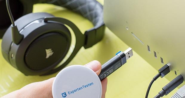 Corsair HS70 Pro Wireless Gaming Headset im Test - stellen Sie mithilfe des mitgelieferten USB-Adapters eine Drahtlosverbindung mit Ihrem PC oder Ihrer PS4 her