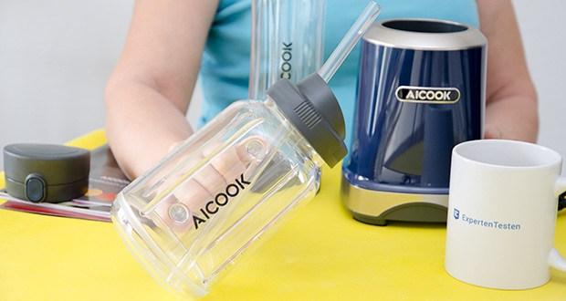 AICOOK Smoothie Maker im Test - Die Sportflasche und der Mason Cup bestehen aus BPA-freiem Tritan und sind spülmaschinenfest