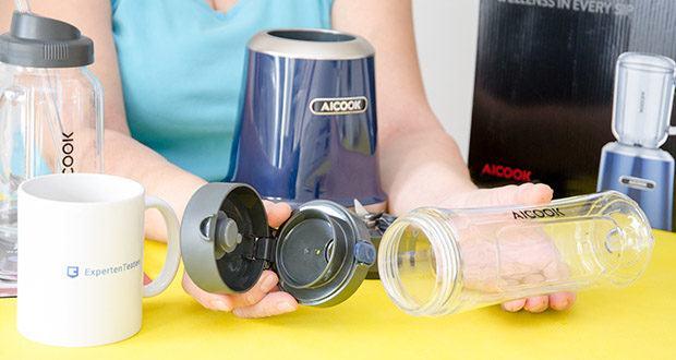 AICOOK Smoothie Maker im Test - mit nur einem Tastendruck können Sie den auslaufsicheren Deckel öffnen und Ihre Hände zum Wandern, Fahren, Radfahren oder Fitnesstraining befreien
