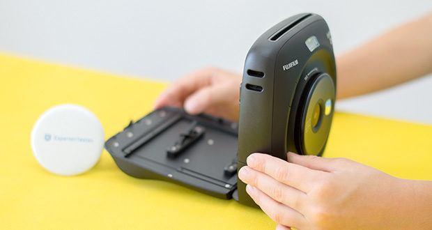 Fujifilm instax SQUARE SQ 20 Hybride Sofortbildkamera im Test - ist mit einem eingebauten Blitz und 3 verschiedenen Blitzfunktionen ausgestattet