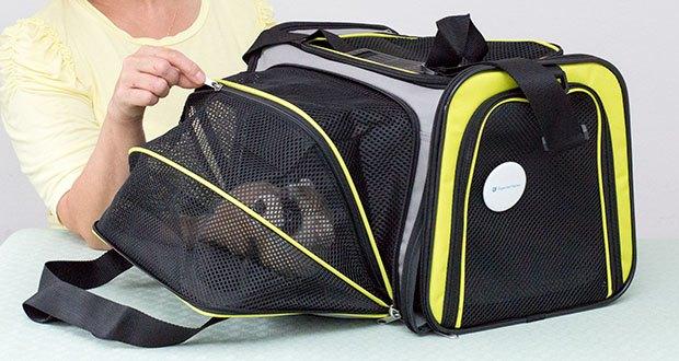HUNTER SYDNEY Tragetasche für Hunde und Katzen im Test - mittels Reißverschluss lässt sich die Liegefläche deutlich erweitern
