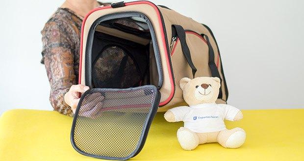 HUNTER KANSAS Tragetasche für Hunde und Katzen im Test - die herausnehmbare und waschbare Einlage aus Lammfell-Imitat sorgt für Hygiene und Wohlfühlcharakter